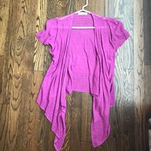 Short sleeve magenta cardigan